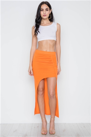 Neon Orange Solid Open Side Ruffle Maxi Skirt
