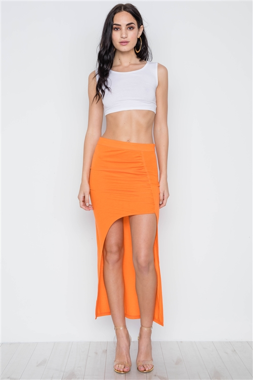 Orange Open Side Ruffle Maxi Skirt