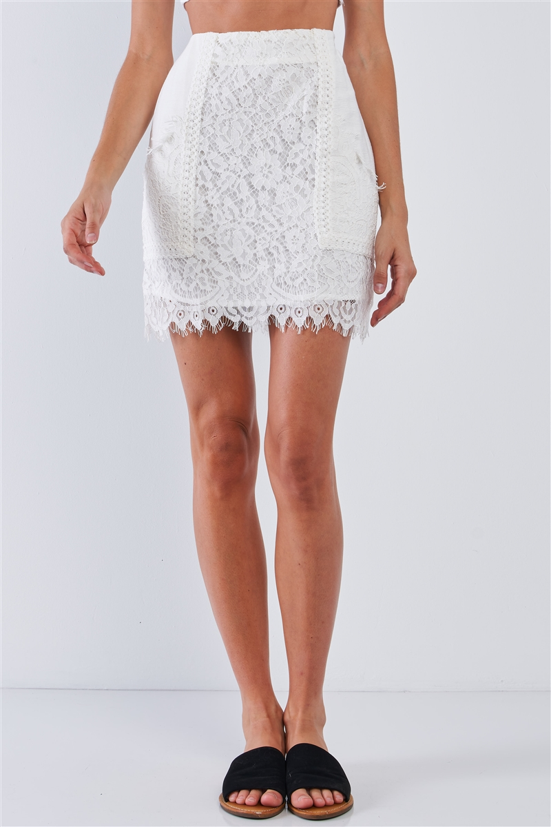 Solid White Crochet Front And Bottom Lining Tight Fit Mini Skirt