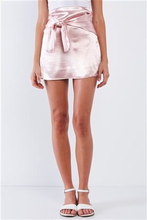 Soft Baby Pink Satin Sheen High Waisted Wrap Tie Mini Skirt
