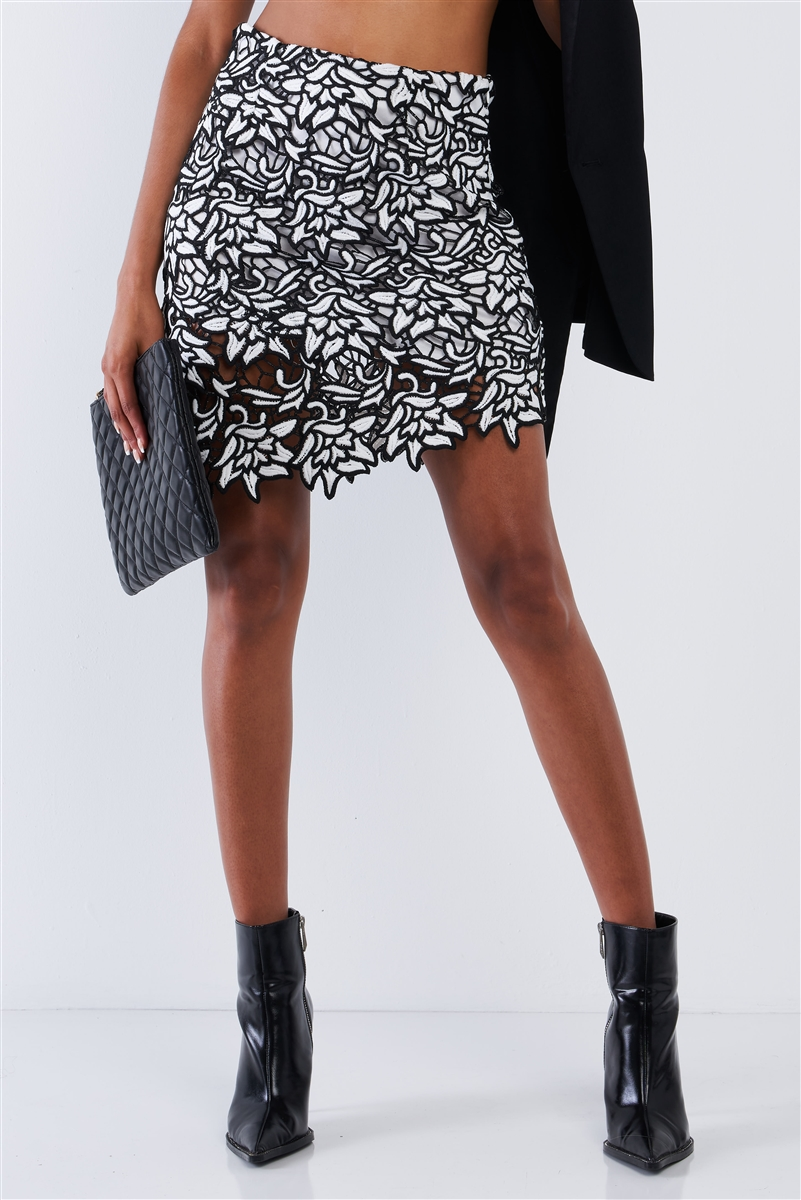 Black And White Crochet Asymmetrical Floral Embroidered High Waisted Tight Fit Lined Mini Skirt