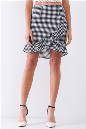 Black & White Checkered High-Waist Ruffle Wrap Front Detail Mini Skirt /2-2-1