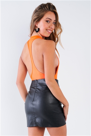 Neon Orange Deep V-Neck Racerback Bodysuit