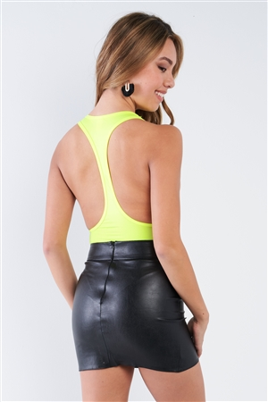 Neon Yellow Deep V-Neck Racerback Bodysuit