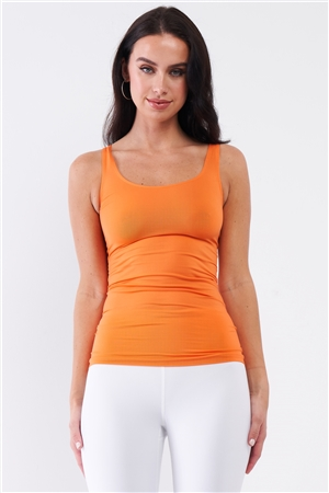 Orange Basic Sleeveless Round Neck Fitted Sports Cami Top /3-3