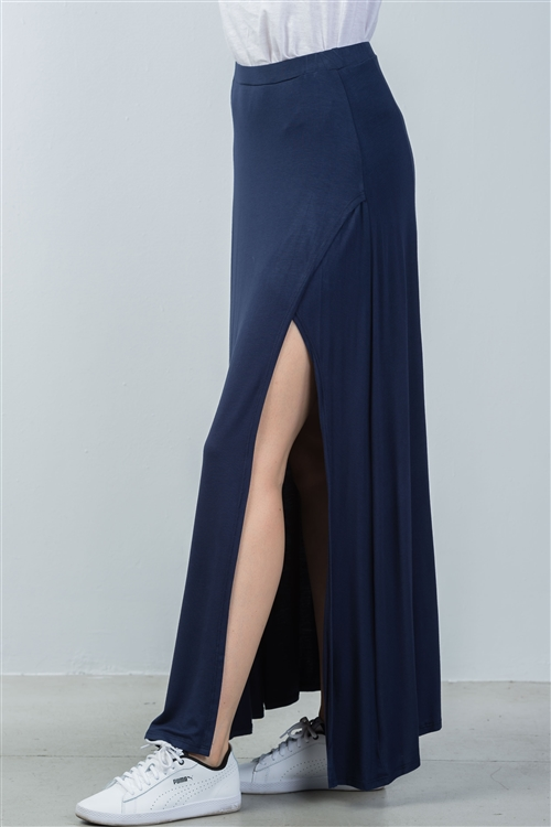 Navy Side Slit Long Skirt