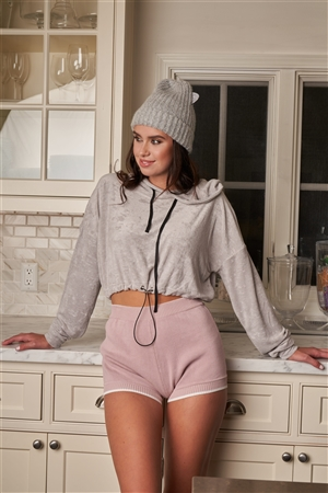 Grey Soft Relaxed Fit Long Sleeve Elastic Loop Draw String Tie Cropped Hoodie /3-2-1