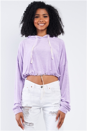 Lavender Soft Relaxed Fit Long Sleeve Elastic Loop Draw String Tie Cropped Hoodie /3-2-1