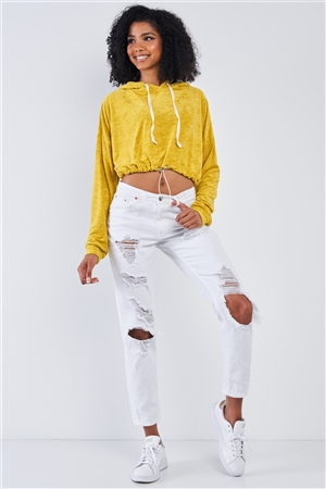 Lemon Yellow Soft Relaxed Fit Long Sleeve Elastic Loop Draw String Tie Cropped Hoodie /3-2-1