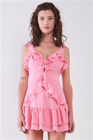 Pink Sleeveless V-Neck Ruffle Mini Dress