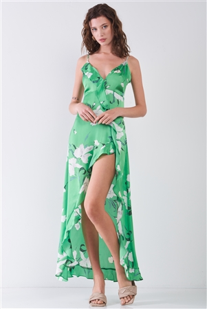 Green Satin Floral Print Sleeveless V-Neck Self-Tie Back Ruffle Trim Side Slit Detail Maxi Dress
