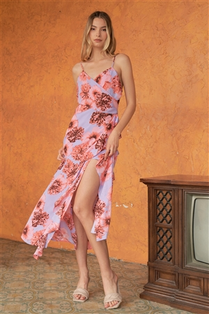 Coral & Lilac Floral Print Sleeveless Self-Tie Wide Wrap Front Ruffle Hem Side Slit Detail Midi Dress /3-2-1