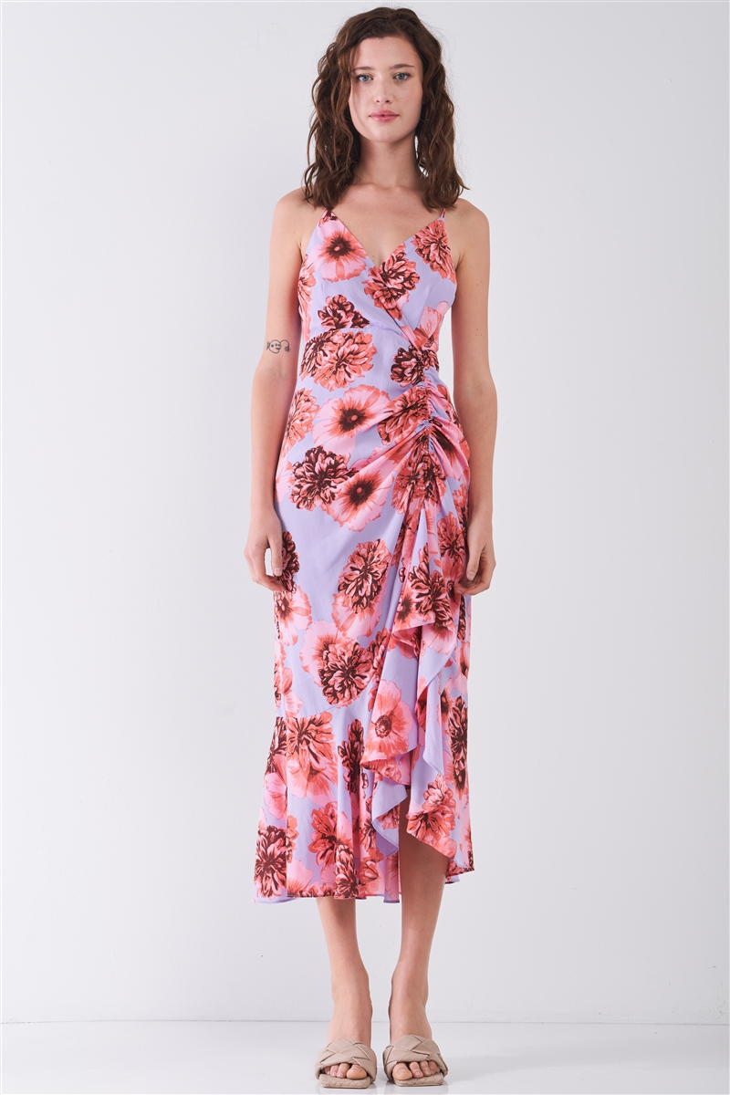Coral & Lilac Floral Print Sleeveless V-Neck Gathered Side Detail Ruffle Hem Midi Dress /3-2-1