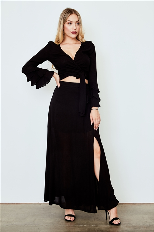 Black Side Slit Maxi Skirt