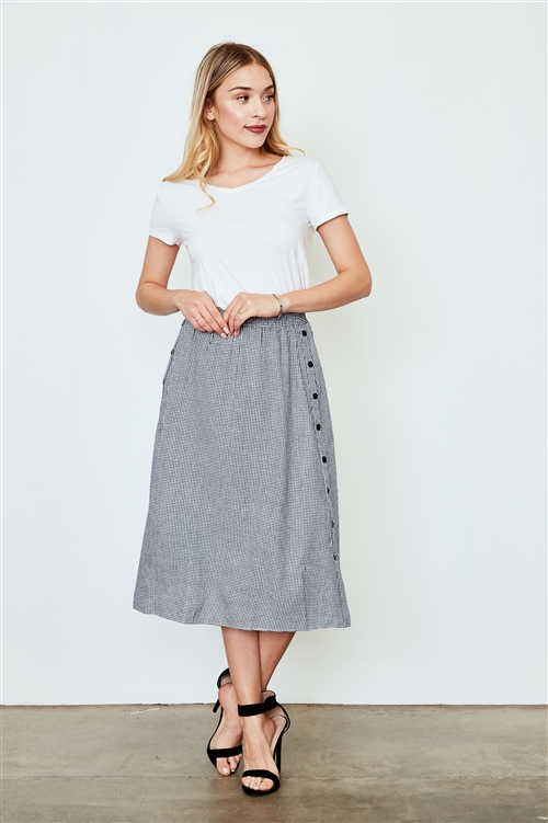 Black Gingham Print Side Button Midi Skirt