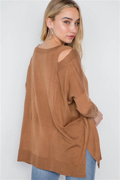 Camel Loose Fit Long Sleeve Cut-Out Sweater