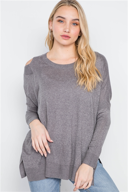 Dust Loose Fit Long Sleeve Cut-Out Sweater