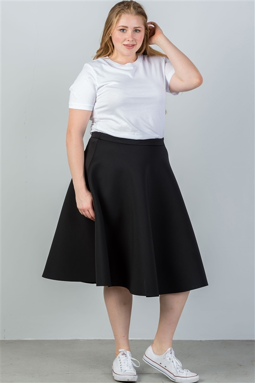 Plus Size Black Midi Skirt