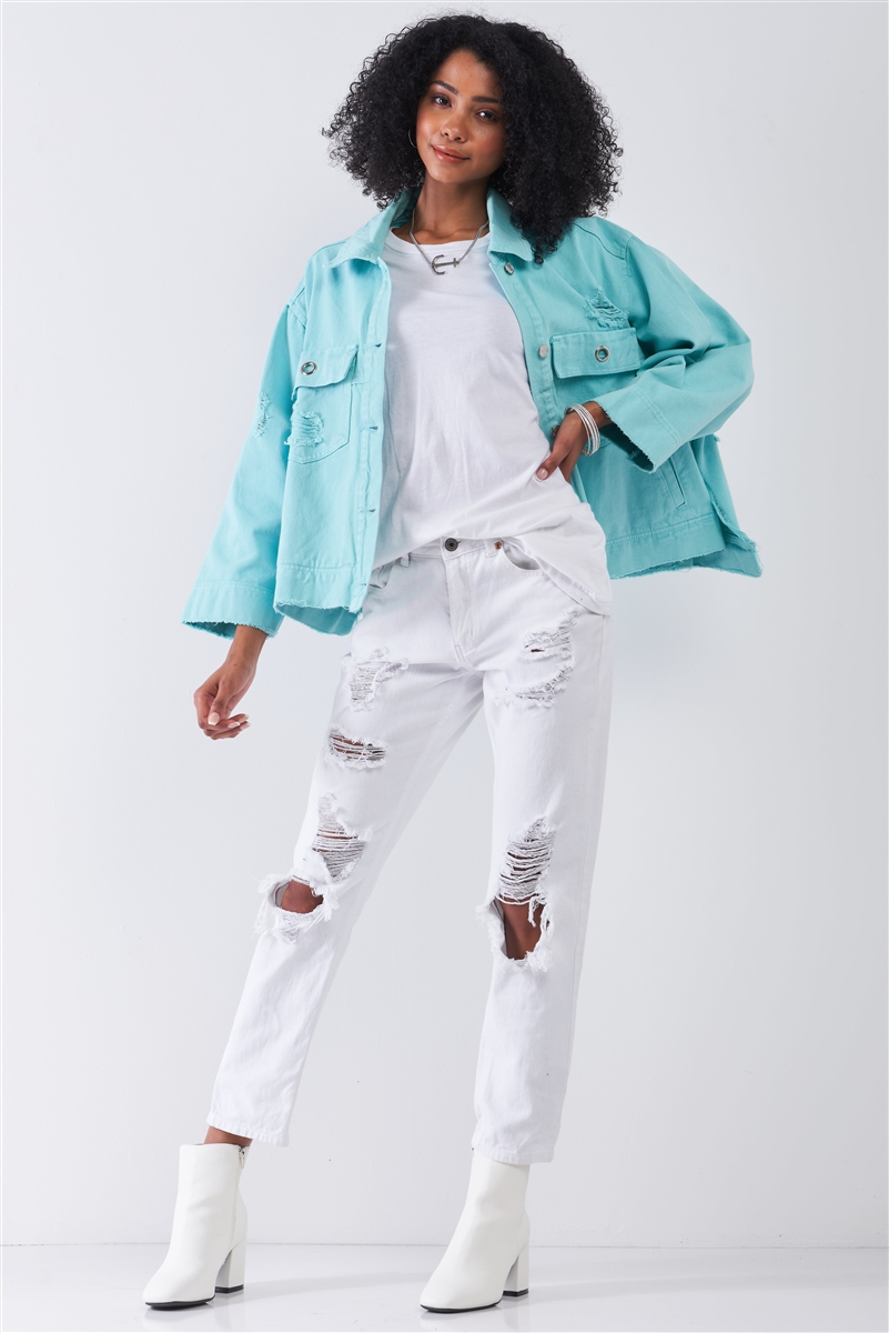 Washed Mint Distressed Button-Down Front Raw Hem Detail Wide Sleeve Oversized Denim Jacket /3-3
