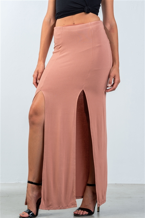 Cinnamon Double Slit High Waist Maxi Skirt