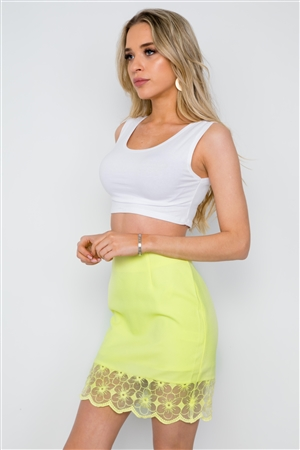 Yellow High Waist Floral Embroidery Mini Skirt