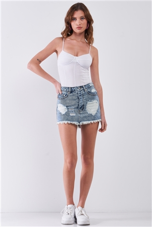 Blue Denim Acid Wash Effect Distressed Raw Hem Detail High Waist Mini Skirt /3-2-1