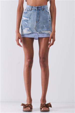 Washed Light Denim Combo High Waist Distressed Raw Hem Striped Underlining Detail Mini Skirt