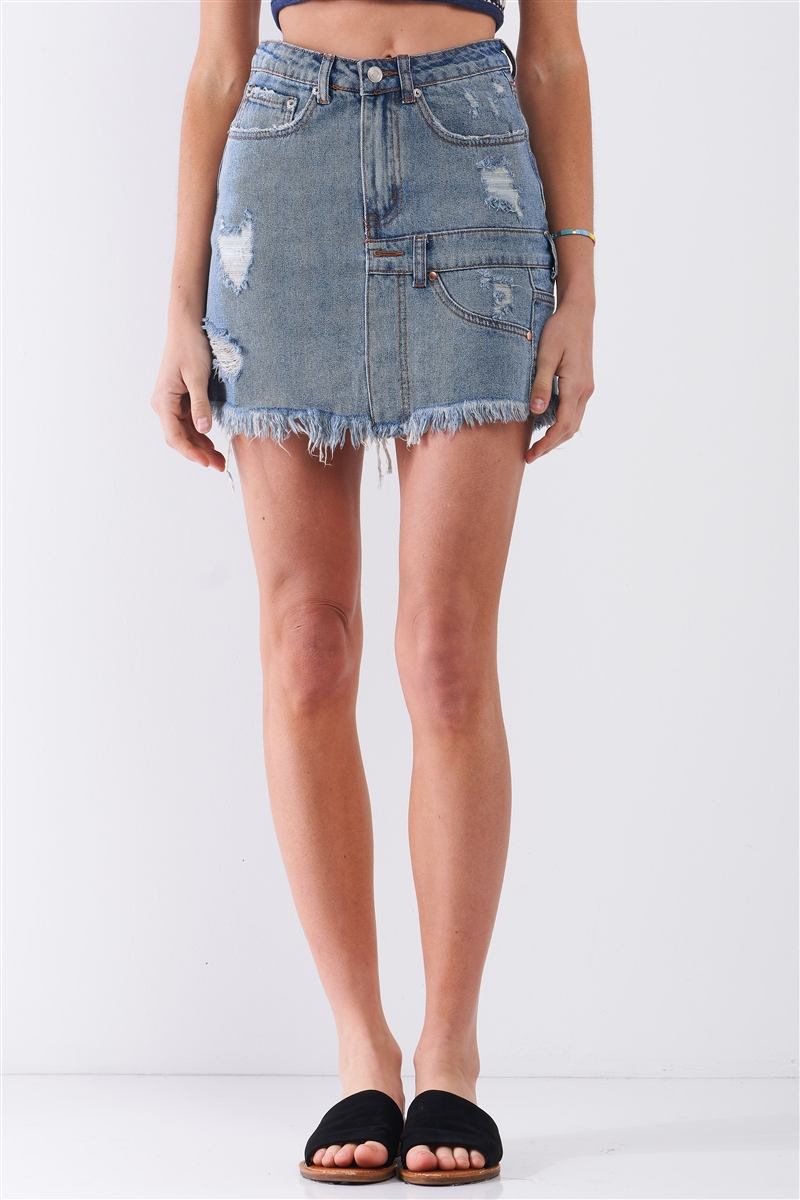 Medium Blue Denim High-Waist Distressed Effect Asymmetrical Trim Raw Hem Detail Mini Skirt /3-2-1