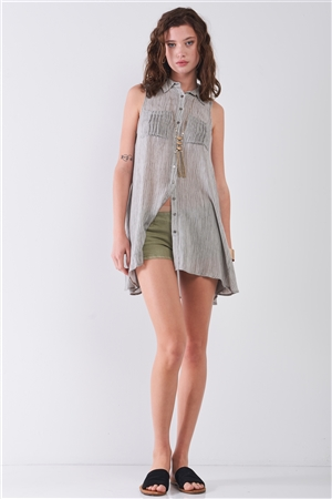 Sage Green Low-Rise Rip Trim Denim Mini Shorts /3-2-1
