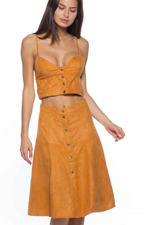 Camel buttoned 2 piece set - cropped top & maxi skirt