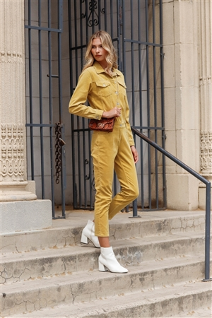 Bumblebee Yellow Corduroy Long Sleeve Button-Down Front Urban Utility Jumpsuit /3-2-1