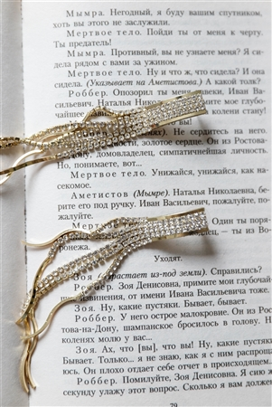 Gold Rhinestone Tassel Drop Earrings / 3 Pieces