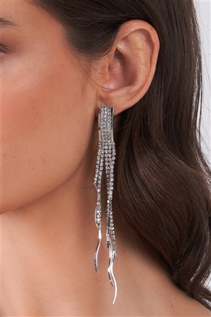 Silver Rhinestone Tassel Drop Earrings / 3 Pieces