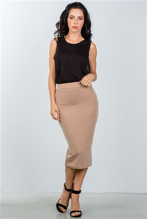 Nude Elastic Waist Midi Pencil Skirt