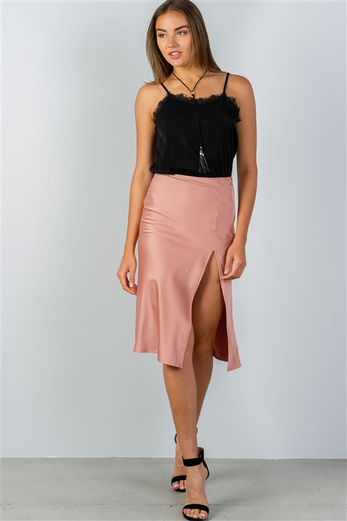 Rose Side Slit Midi Skirt