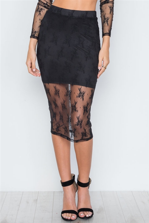 Black Foral Lace High Waist Stretchy Midi Skirt