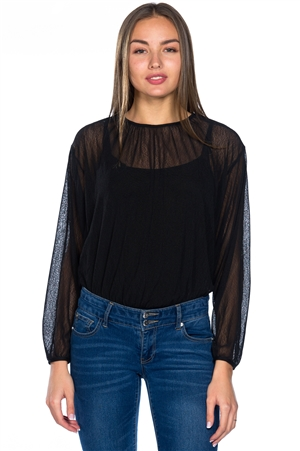 2 For You Double Layer Batwing Top With Bodysuit