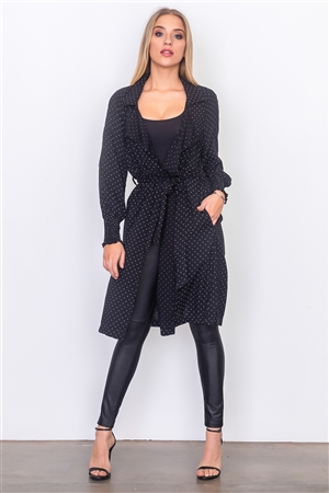 Black Mini Polka Dot Lightweight Jacket
