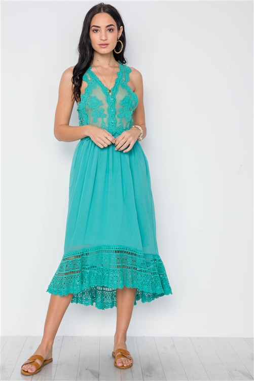 Boho Sage Crochet Trim Hi-Low Hem Dress