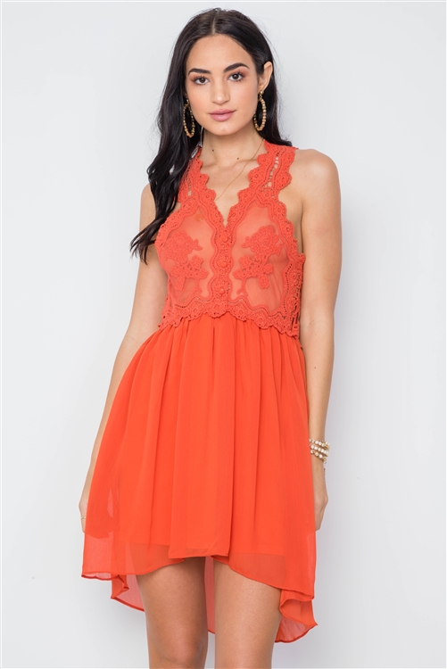 Boho Orange Crochet Trim Hi-Low Hem Dress