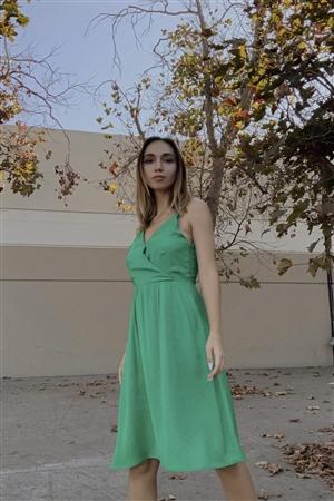 Green Sleeveless V-Neck Midi Dress