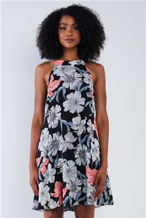 Black Multi Color Floral Print Round Neck Sleeveless Loose Fit Lined Mini Dress