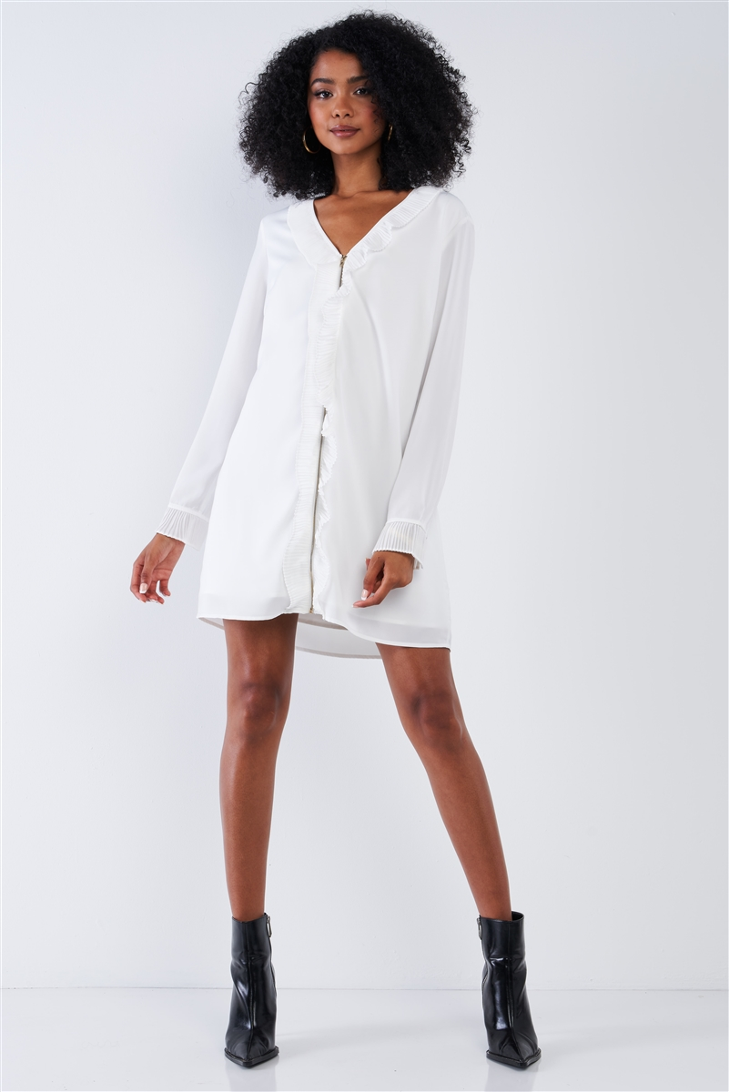 Solid White Classy Loose Fit V-Neck Ruffle Hem Long Sleeve Lined Mini Dress