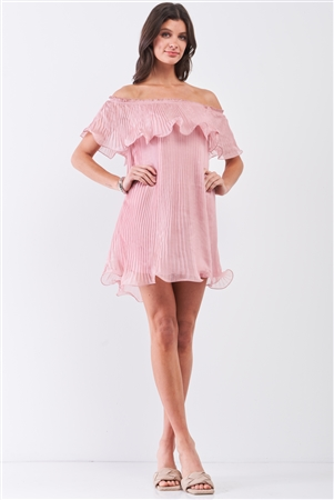 Pink Pleated Off-The-Shoulder Double Layered Frill Trim Mini Dress /2-2-1