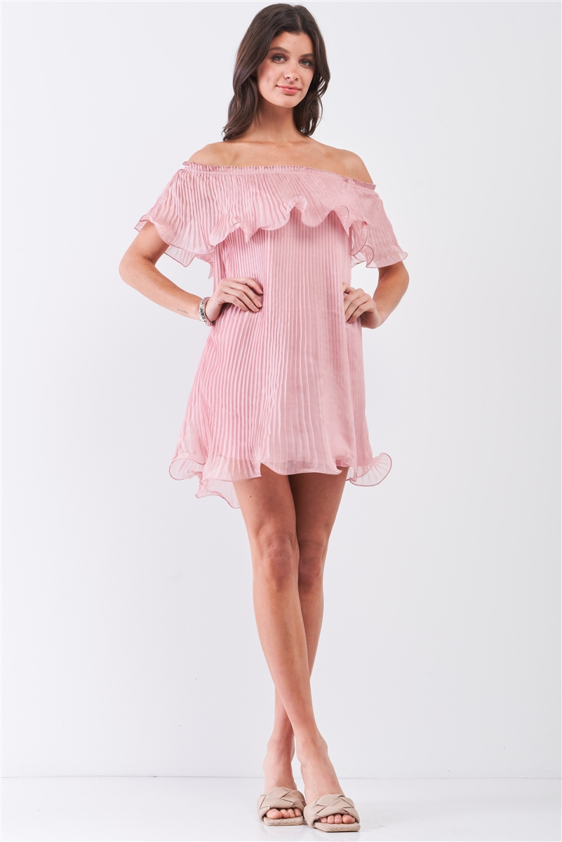 Pink Pleated Off-The-Shoulder Double Layered Frill Trim Mini Dress /1-2-2-1