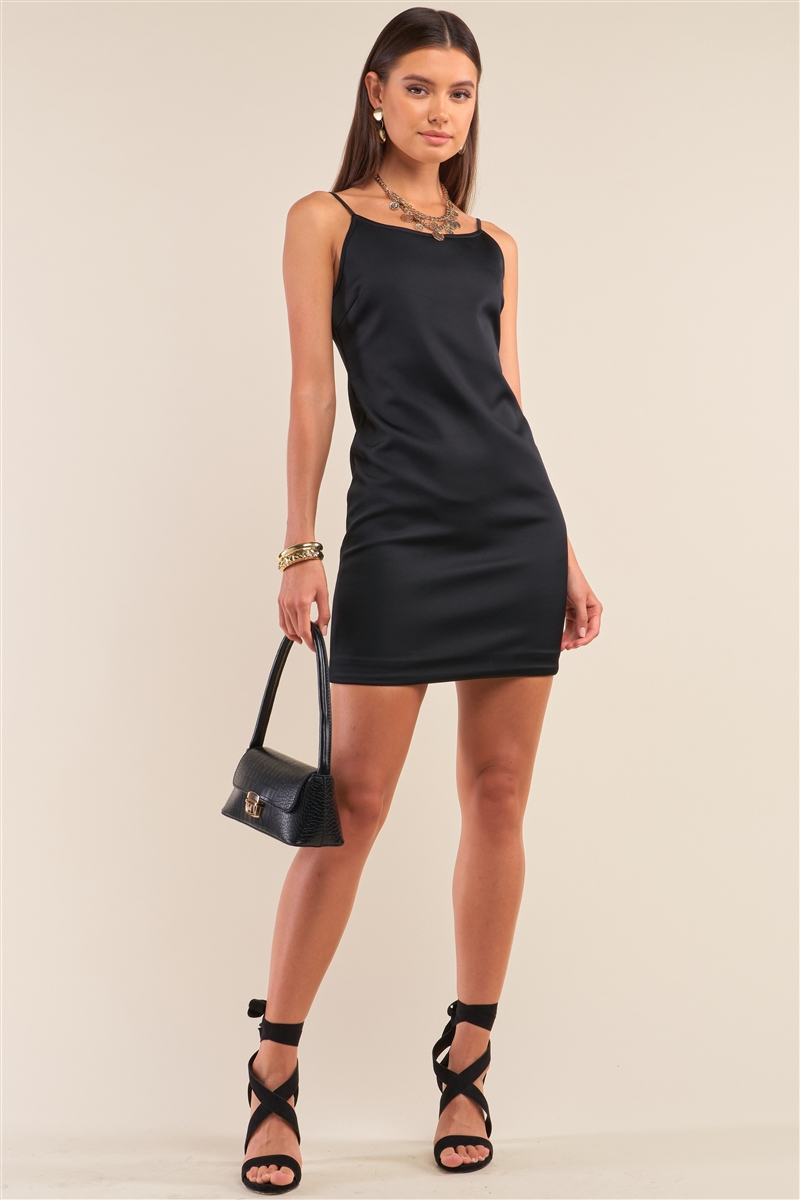 """Little Black Dress"" Satin Finish Sleeveless Round Neck Fitted Mini Dress /1-3-2"