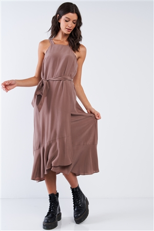 Mocha Sleeveless Square Neck Flow Hem Self Waist Tie Midi Dress