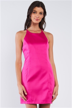 Raspberry Pink Sleeveless V-Neck T-Style Back Halter Tie Slim Fit Mini Tube Dress /1-2-2-1
