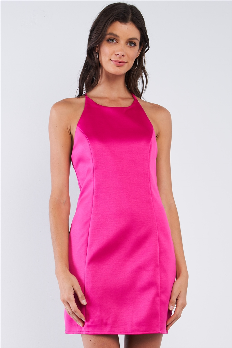 Raspberry Pink Sleeveless V-Neck T-Style Back Halter Tie Slim Fit Mini Tube Dress