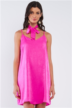 Magenta Pink Satin Relaxed Fit V-Neck Sleeveless T-Shaped Back Strap Mini Dress With Detachable Halter Tie